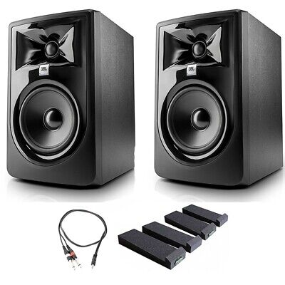 JBL 305P MkII Studio Monitoring Speakers, Isolation Stands, AxcessAbles Cables • 228.32£