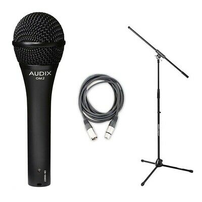 Audix OM2 Dynamic Hypercardioid  Microphone Plus 20 FT XLR Cable And Stand • 72.23£