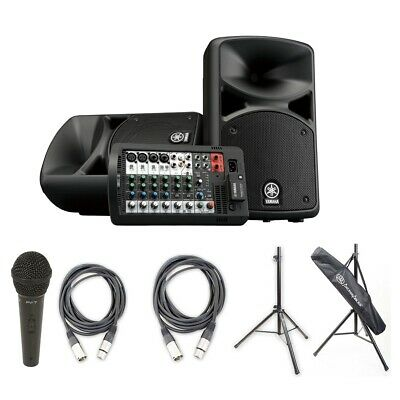 Yamaha STAGEPAS 400BT PA-System W/BT, Peavey Mic & XLR Cable Pk, Cables & Stands • 553.67£