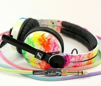 UV Rainbow Sennheiser HD25 By Custom Cans With Glowing White Or Rainbow Cable • 230£