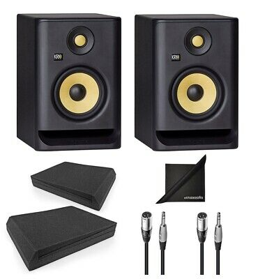 KRK ROKIT RP5-G4 Active Studio Monitors W/ AxcessAbles Iso Pads, Cables & Cloth • 318.79£