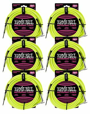 6 PACK Ernie Ball 6085 18' Braided Neon Yellow Straight To RA Instrument Cable • 92.27£