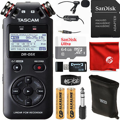 Tascam DR-05X Stereo Handheld Audio Recorder Bundle with 64GB + Lapel Microphone