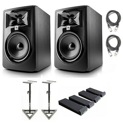 JBL 305P MkII 5' Studio Monitors (2) W/Stands, Isolation Pads & Cloth • 291.31£
