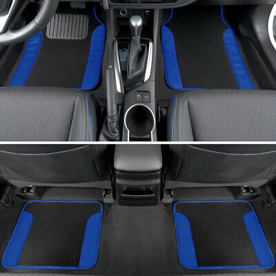 Blue Car Floor Mats 4 Pieces Set Carpet Rubber Backing All Weather Protection • 15.77£