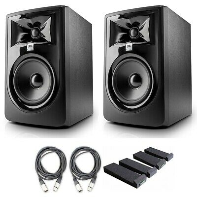JBL 305P MkII 5' Studio Monitor Speakers W AxcessAbles Cables And Iso Pads • 207.71£