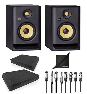KRK ROKIT RP5-G4 Active Studio Monitors W/ AxcessAbles Iso Pads, Cables, & Cloth • 269.91£