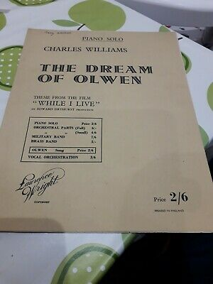 The Dream of Olwen - Charles Williams Lawrence Wright 1947 Piano Sheet Music