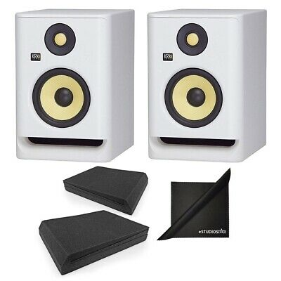 KRK RP5G4WN Rokit Gen 4 5'' Monitors White W/ AxcessAbles Speaker Pads & Cloth • 275.77£