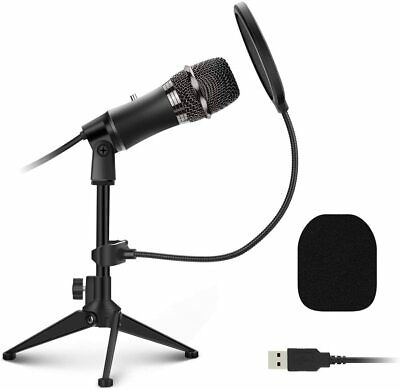 USB Microphone PC Microphone Plug And Play With Tripod Stand Pop Filter Condense • 24.98£