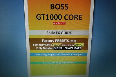 BOSS GT1000 CORE FX & Factory Presets Guide + Settings Log TEMPLATE(Secured PDF) • 4.71£