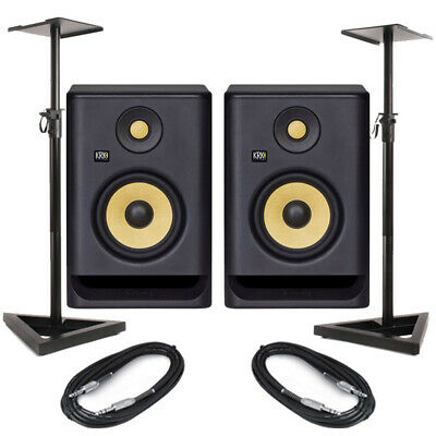 KRK Rokit RP5 G4 Pair Active DJ Studio Monitor Speakers With Pro Stands & Cables • 294£