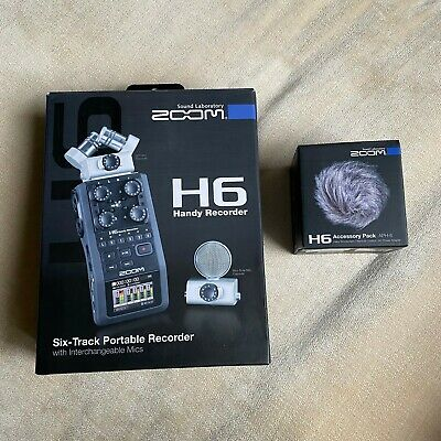 Zoom H6 Handy Recorder, 2 mics, carry case + Accessory Pack - both boxed