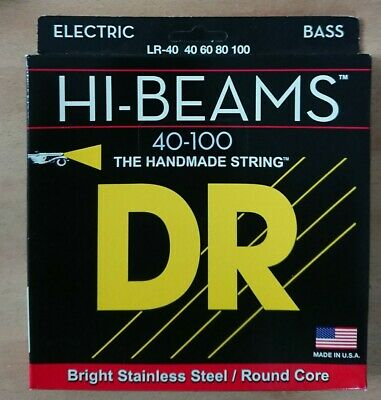 DR LR-40 Hi-Beams Round Core Bass Stainless 4-String 40-100 Light