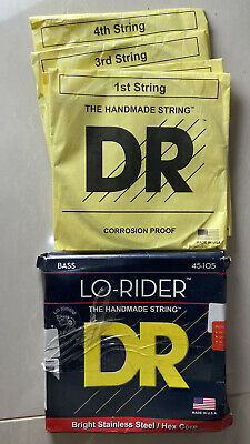 DR MH-45 'Lo-Rider' Stainless Steel 4-String Bass strings 45-105