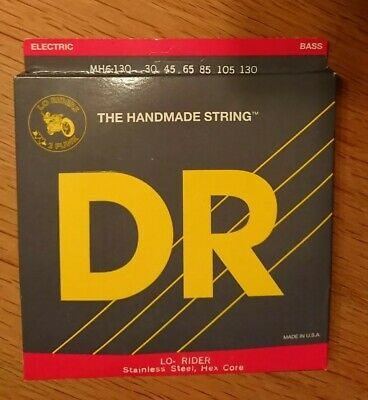 DR MH6-130 Lo-Rider Stainless Bass Guitar Strings 6 String Medium 30-130