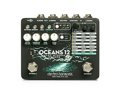 EHX Electro Harmonix Oceans 12 Dual Stereo Reverb, Brand New in Box