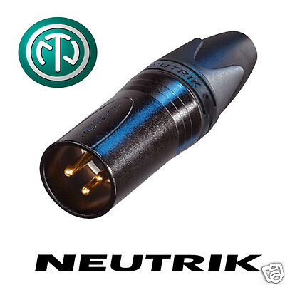Neutrik 3 Pin GOLD NC3MXX-B Male XLR Connector. Black Body, Pins. Rubber Boot • 3.72£