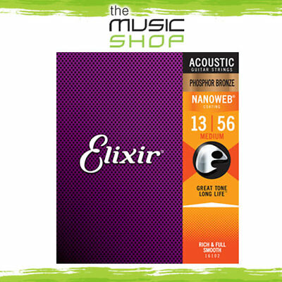 Elixir Nanoweb 13-56 Phosphor Bronze Acoustic Guitar Strings -  Medium 16102 • 19.61£