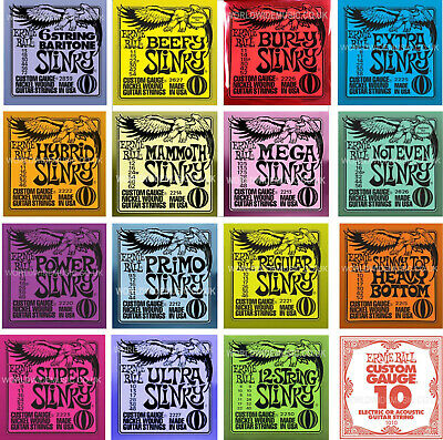 Ernie Ball Slinky Guitar Strings With Choice Of 16 Gauges - Including Singles • 6.99£