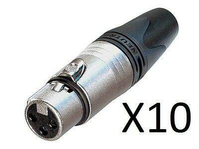 10 Pack - Neutrik NC3FXX Female XLR 3-Pin Connectors Nickel With Silver Contacts • 22.68£