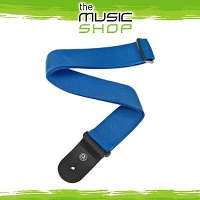 New D'Addario Planet Waves Blue Poly Guitar Strap With Leather Ends - Adjustable • 7.86£
