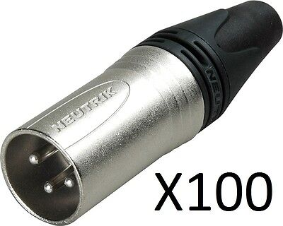 Lot Of 100 Neutrik NC3MXX Male XLR 3-Pin Connectors, Nickel With Silver Contacts • 186.32£