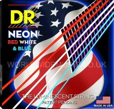 DR NEON NUSAA-11 Red White and Blue  Fluorescent Acoustic Guitar strings 11 - 50
