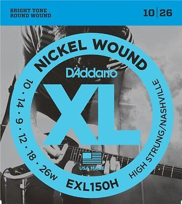 D'Addario Nickel Wound Electric Guitar Strings, High-Strung/Nashville Tuning • 3.84£