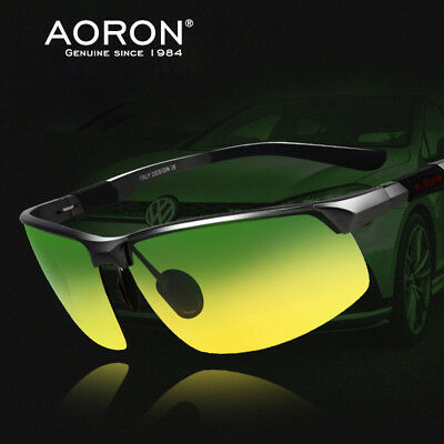 Day And Night Driving Glasses With HD Polarized Anti Glare Yellow Green For Men • 9.89£