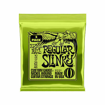 Ernie Ball Regular Slinky Nickel Wound Electric Guitar Strings 3 Pack - 10-46 • 11.56£