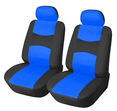PU Leather 2 Front Car Seat Cover Compatible To Truck SUV Sedan 851 Black/Blue • 14.04£