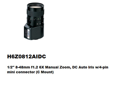 Computar Manual Zoom Lenses H6Z0812AIDC 1/2  8-48mm F1.2 6X Manual Zoom • 189£