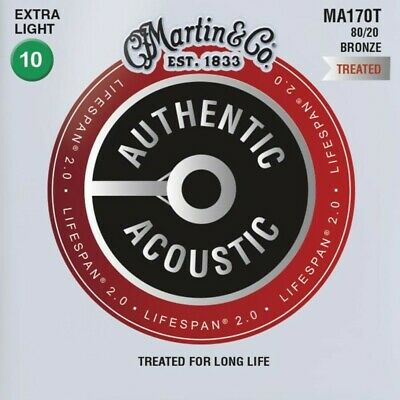 Martin MA170T Lifespan 80/20 Authentic Acoustic Guitar Strings Extra Light 10-47