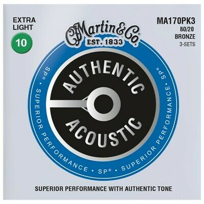 3 Packs Martin MA170 Authentic Acoustic Guitar Strings 80/20 Bronze Extra Light