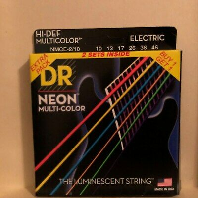 DR Strings Hi-Def NEON Multi-Color Medium Electric Guitar Strings (10-46) 2 Pack • 8.61£