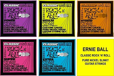 Ernie Ball Classic Rock n Roll Slinky Guitar strings with Choice of 5 Gauges