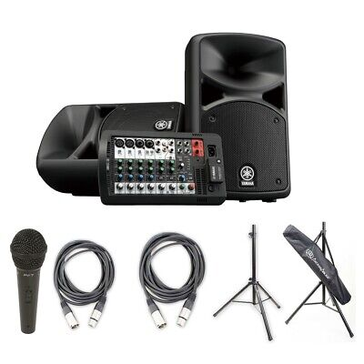 Yamaha STAGEPAS 400BT PA System W/BT, Peavey Mic & XLR Cable Pk, Cables & Stands • 552.52£