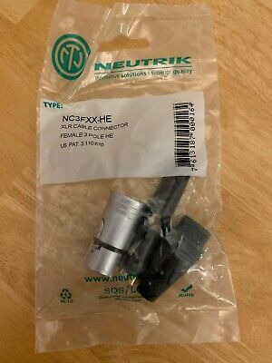 Neutrik Female XLR Audio Connector NC3FXX 3 Pin Pole Nickel Body • 3.10£