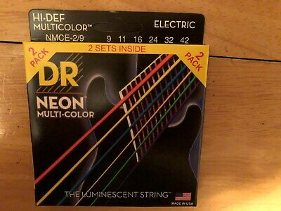 DR Strings Hi-Def NEON Multi-Color Lite Electric Guitar Strings (9-42) 2 Pack • 8.61£