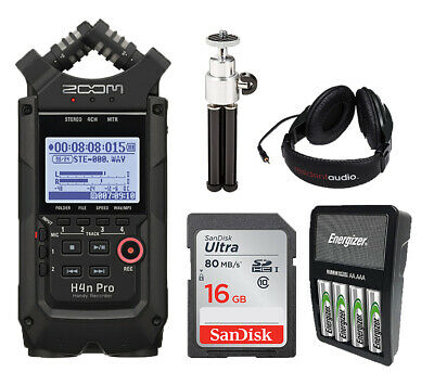 Zoom H4n Pro Black Recorder,16GB SD,Rechargeable Batteries,Headphones,Stand • 207.44£