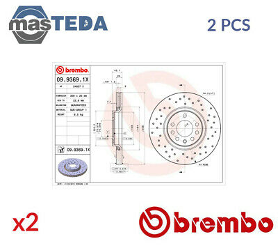 2x BREMBO FRONT BRAKE DISCS SET BRAKING PAIR 0993691X P NEW OE REPLACEMENT • 181.99£