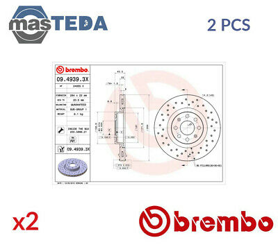 2x BREMBO FRONT BRAKE DISCS SET BRAKING PAIR 0949393X P NEW OE REPLACEMENT • 180.99£