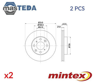 2x MINTEX FRONT BRAKE DISCS SET BRAKING PAIR MDC847 G NEW OE REPLACEMENT • 64.99£