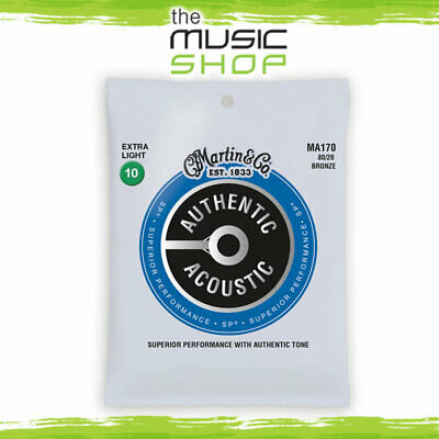 Martin Authentic Acoustic SP Guitar Strings - Extra Light 10-47, 80/20 - MA170