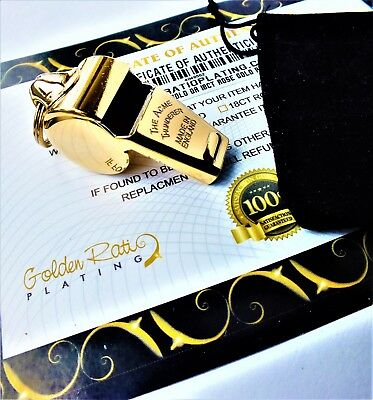 24Ct Gold Plated Acme Thunderer 58.5 Whistle Football Rugby Basketball Referee • 29.99£