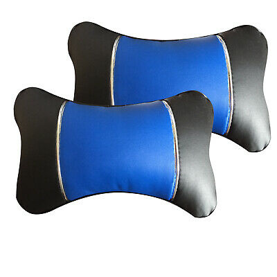 Bk/Blue PU Leather Neck Support 2 Pillows For SUV Truck Van • 10.77£