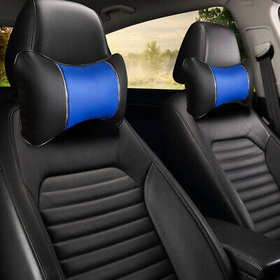 Bk/Blue PU Leather Neck Support 2 Pillows For SUV Truck Van 1500 • 10.80£