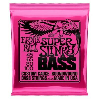 Ernie Ball 2834 Super Slinky Bass Guitar Strings 45-100 .045-.100 Roundwound • 20.10£