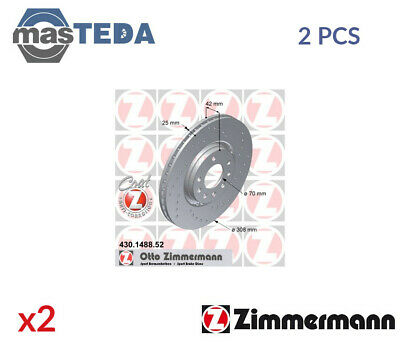 2x ZIMMERMANN FRONT BRAKE DISCS SET BRAKING PAIR 430148852 P NEW OE REPLACEMENT • 201.99£